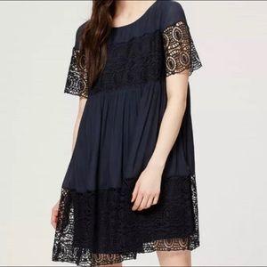 Loft Navy Blue Lace Babydoll Dress